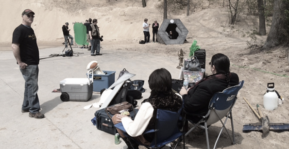 Gearing up to shoot a scene on location.