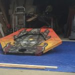 A set piece painted on Matt Busch's driveway.