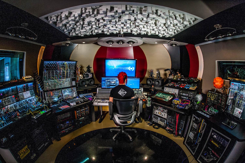 Klayton (Celldweller) in his mothership studio.