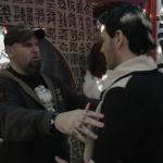 Matt Busch directs John Rick on one of the Hong Kong sets.