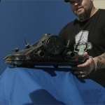Matt Busch preps a miniature of the 8L4CK5T4R Dropship.